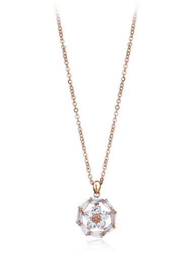 1,30 Ct Pırlanta Efekt Altın Daisy Trapes Roz Kolye-Tophills Diamond Co.